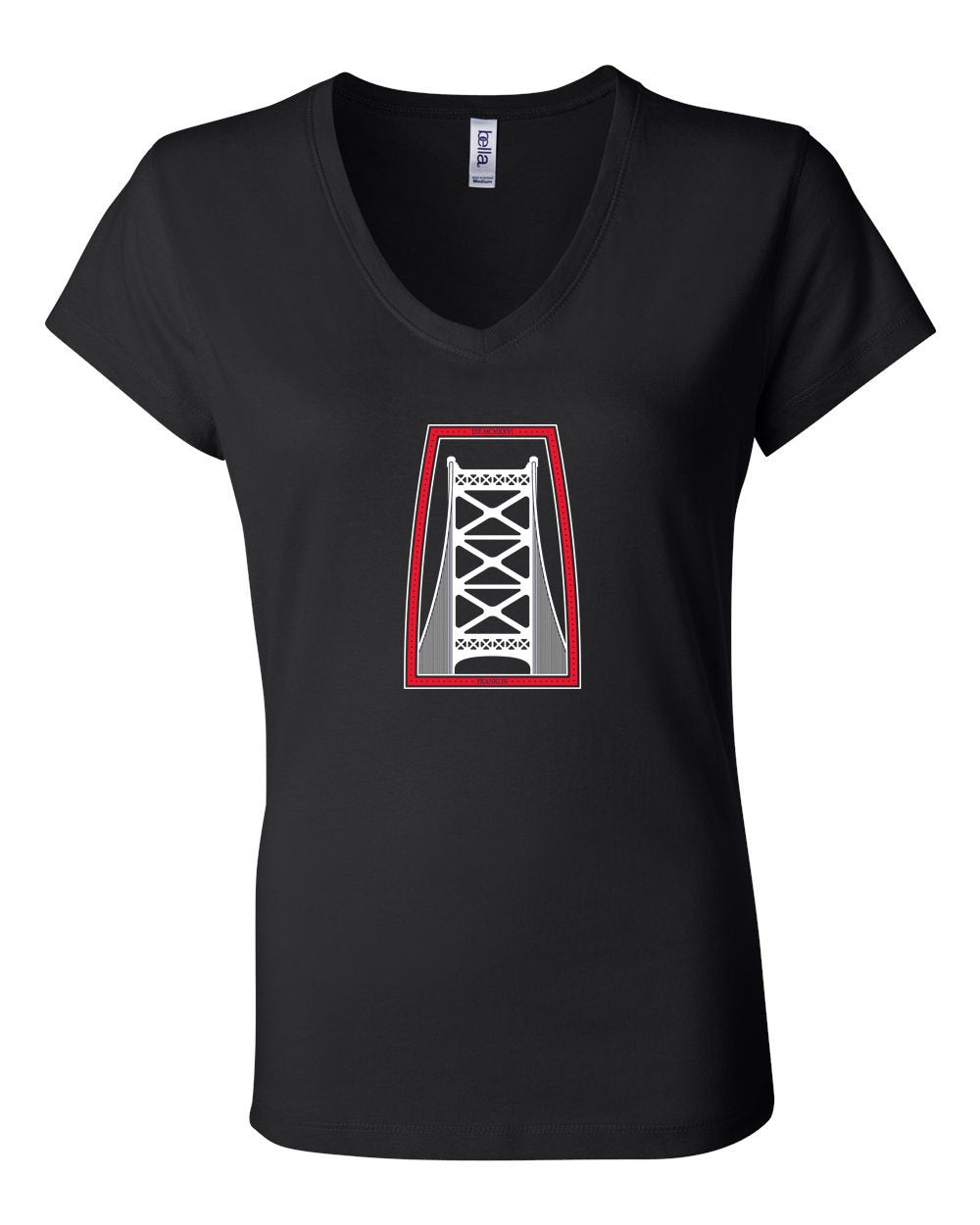 Ben Franklin Bridge Red & White Ink LADIES Junior Fit V-Neck