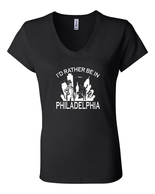 I'd Rather Be In Philly LADIES Junior Fit V-Neck