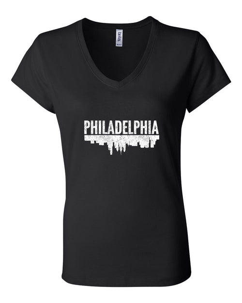 Philadelphia Skyline LADIES Junior Fit V-Neck