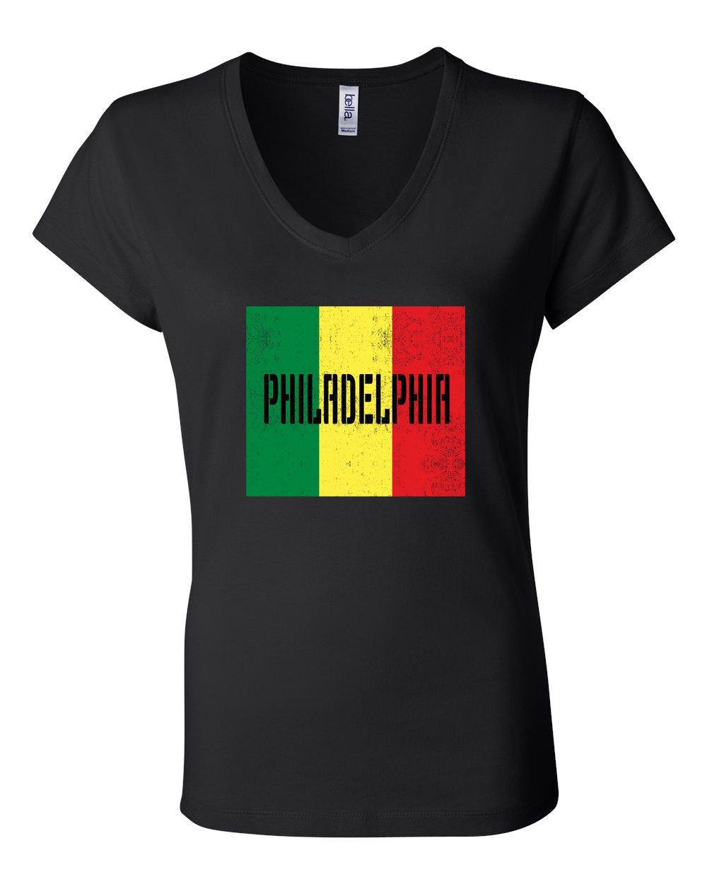 Rasta Philly Flag LADIES Junior Fit V-Neck