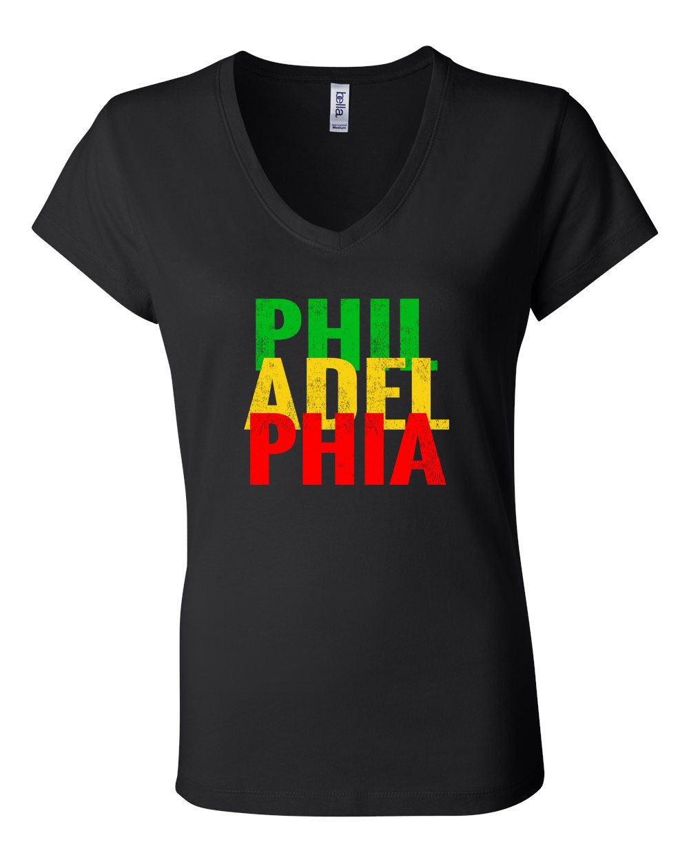 Rasta Philly Letters LADIES Junior Fit V-Neck
