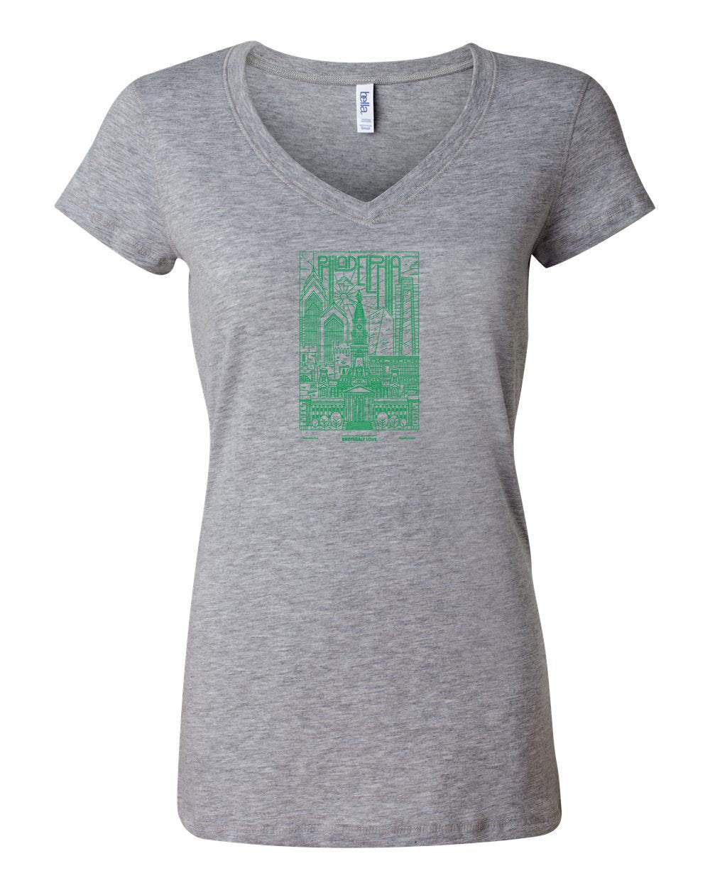 Philadelphia Skyline V2 (Green Ink) LADIES Junior Fit V-Neck