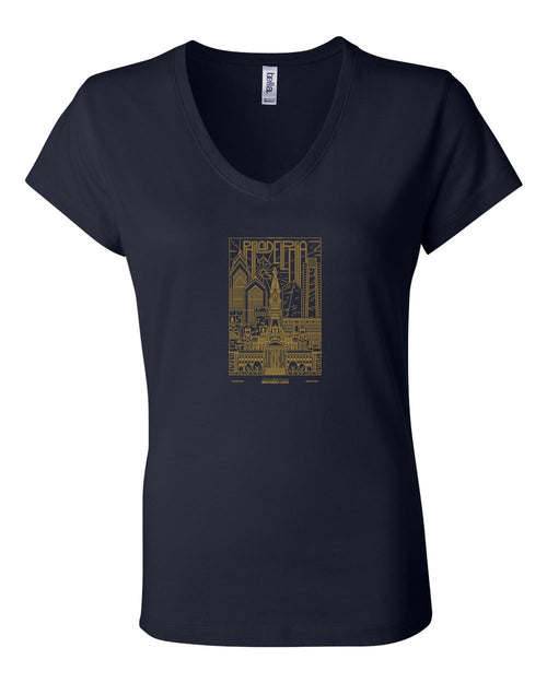Philadelphia Skyline V2 (Soccer) LADIES Junior Fit V-Neck
