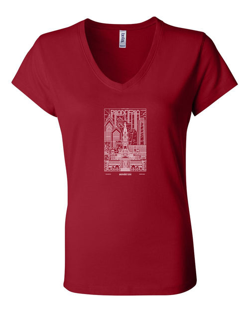 Philadelphia Skyline V2 (Baseball) LADIES Junior Fit V-Neck