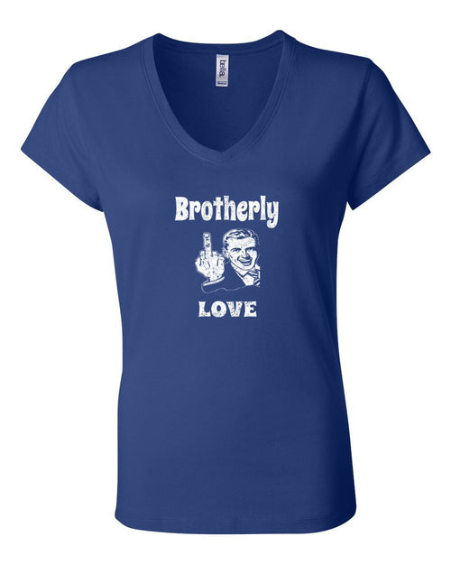 Brotherly Finger White Ink LADIES Junior Fit V-Neck