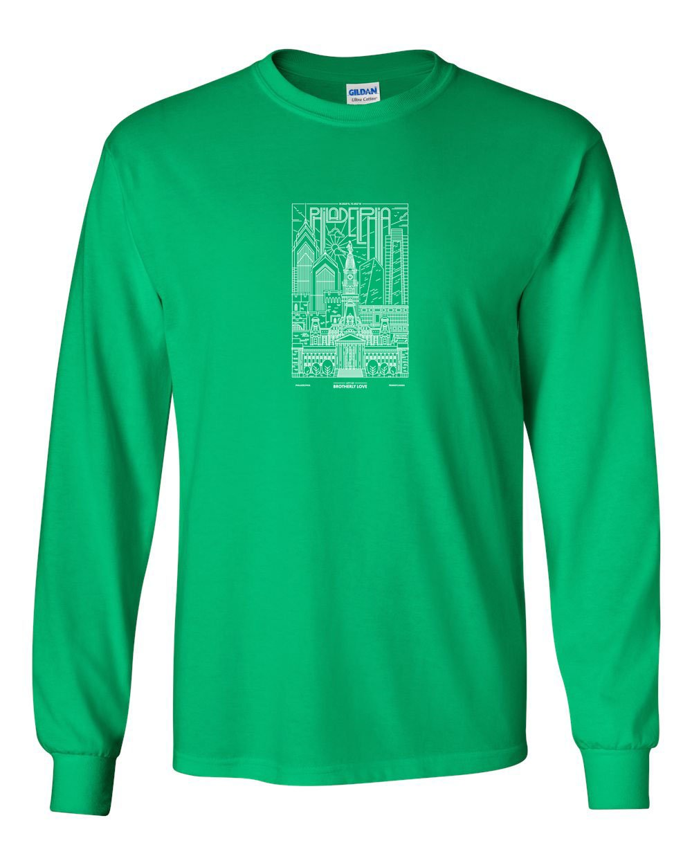 Philadelphia Skyline V2 (Football) MENS Long Sleeve Heavy Cotton T-Shirt