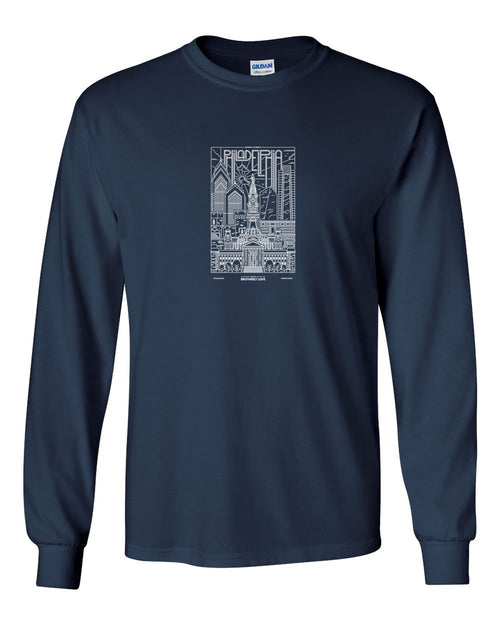 Philly Skyline V2 White Ink MENS Long Sleeve Heavy Cotton T-Shirt
