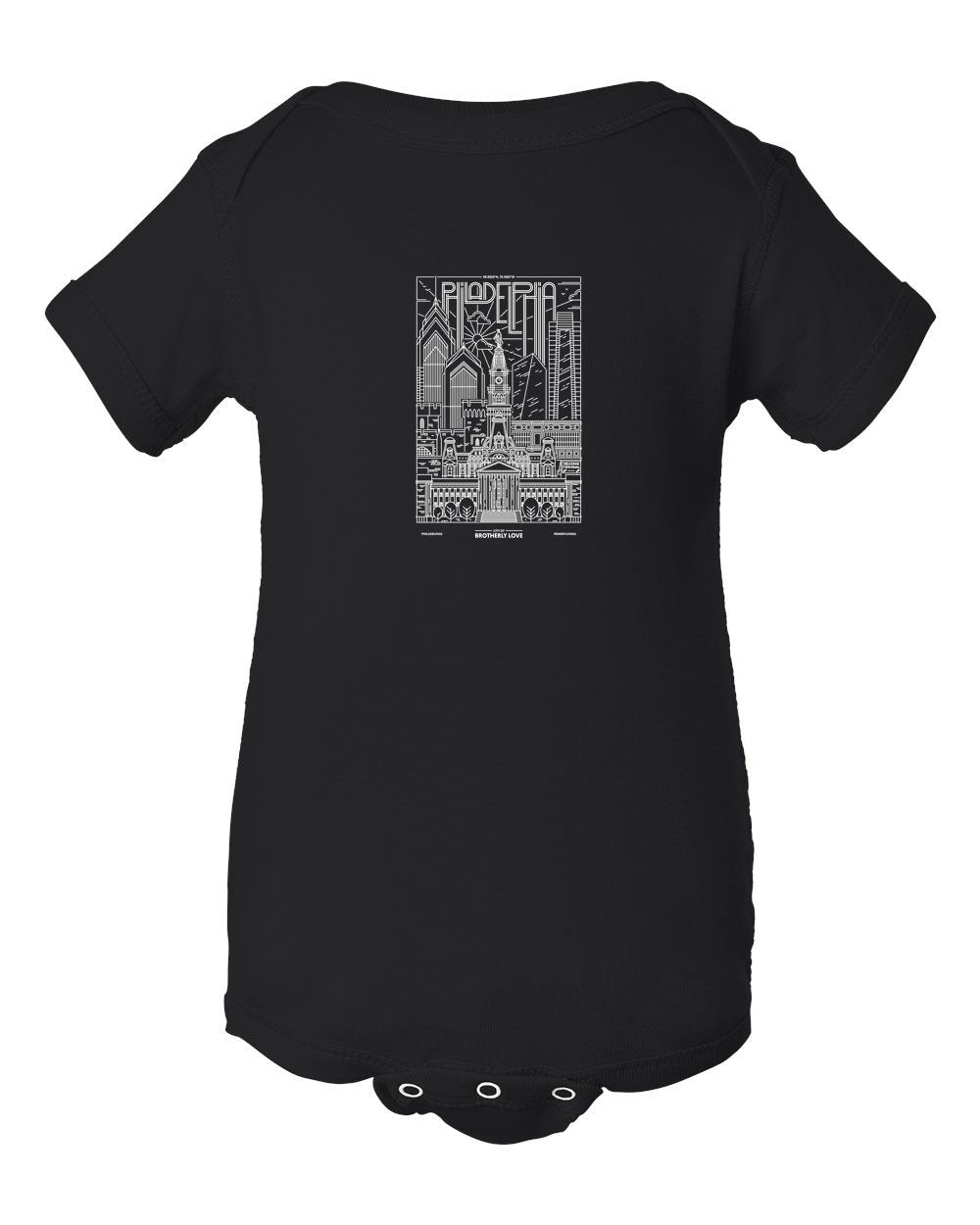 Philadelphia Skyline V2 (White Ink On Black) INFANT Onesie