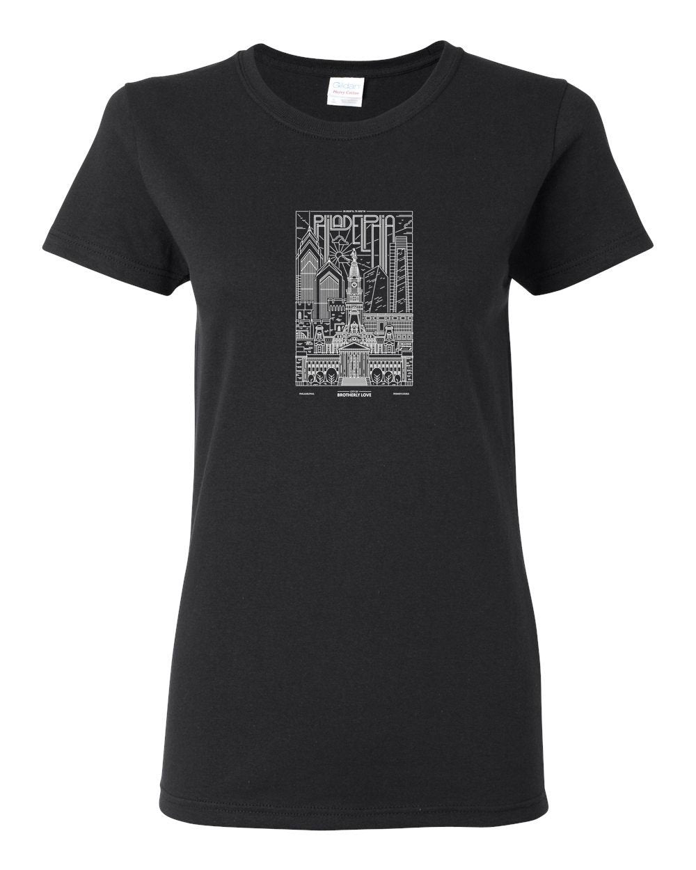 Philadelphia Skyline V2 (White Ink On Black) LADIES Missy-Fit T-Shirt