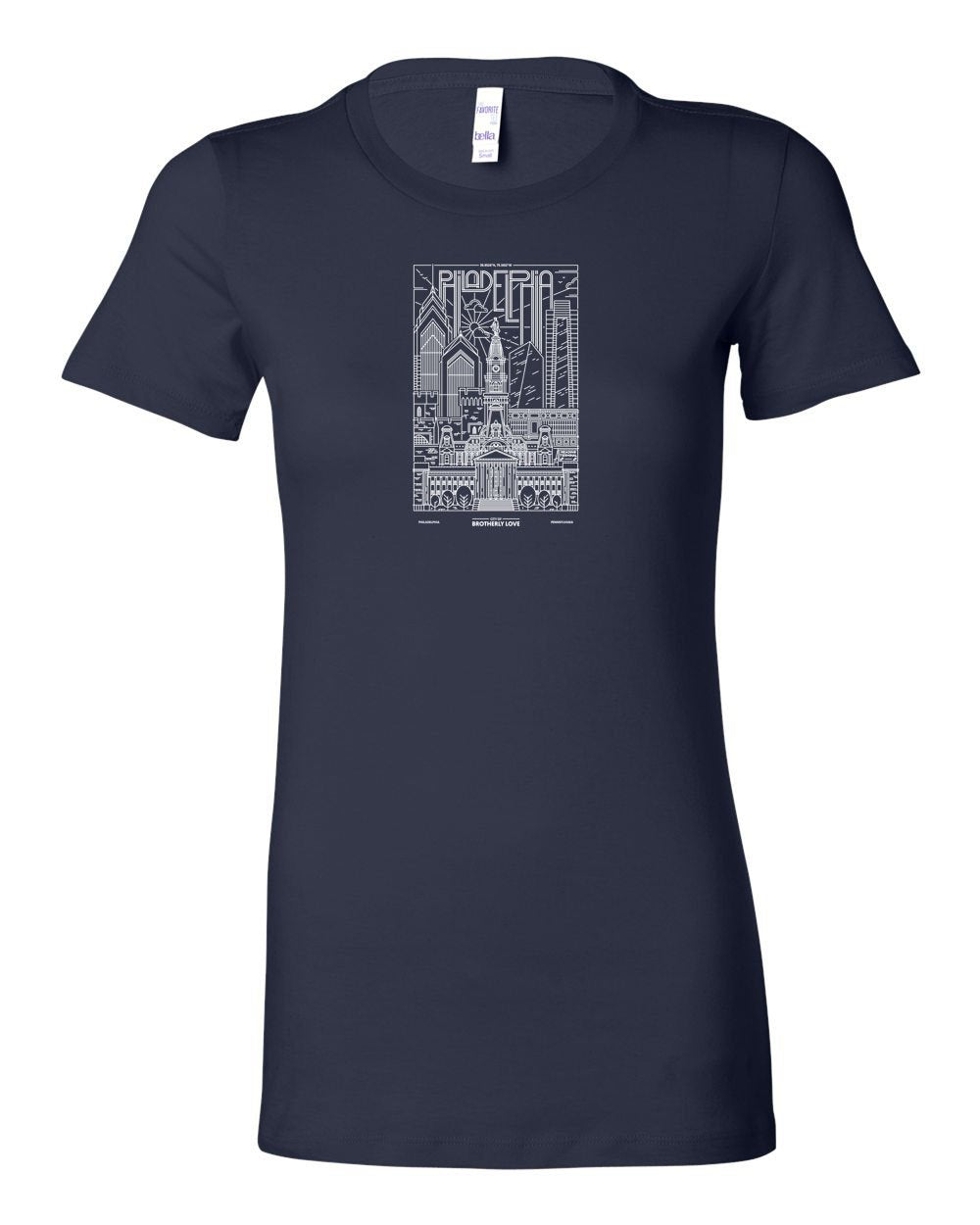 Philly Skyline V2 White Ink LADIES Junior-Fit T-Shirt