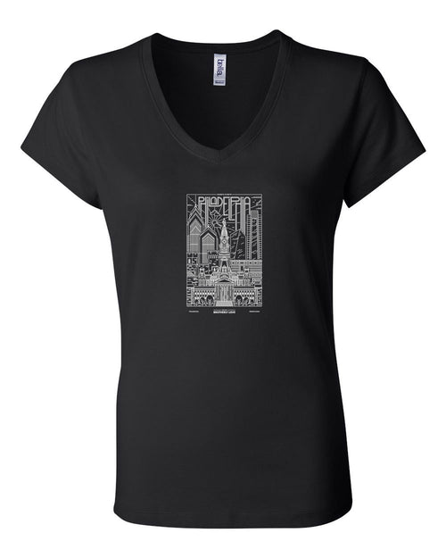 Philadelphia Skyline V2 (White Ink On Black) LADIES Junior Fit V-Neck