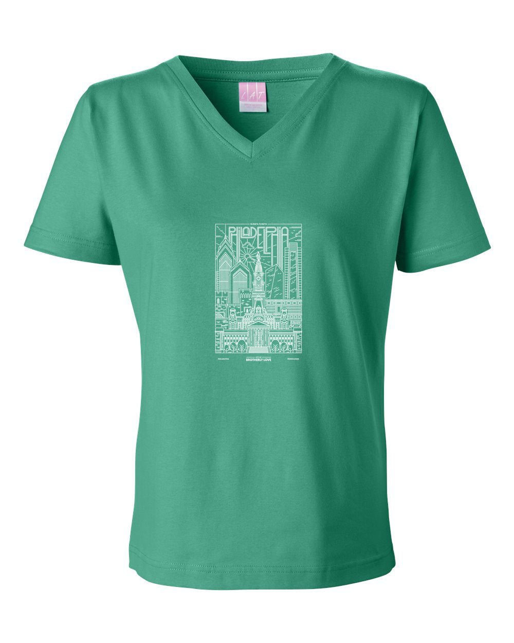 Philadelphia Skyline V2 (Football) LADIES Junior Fit V-Neck