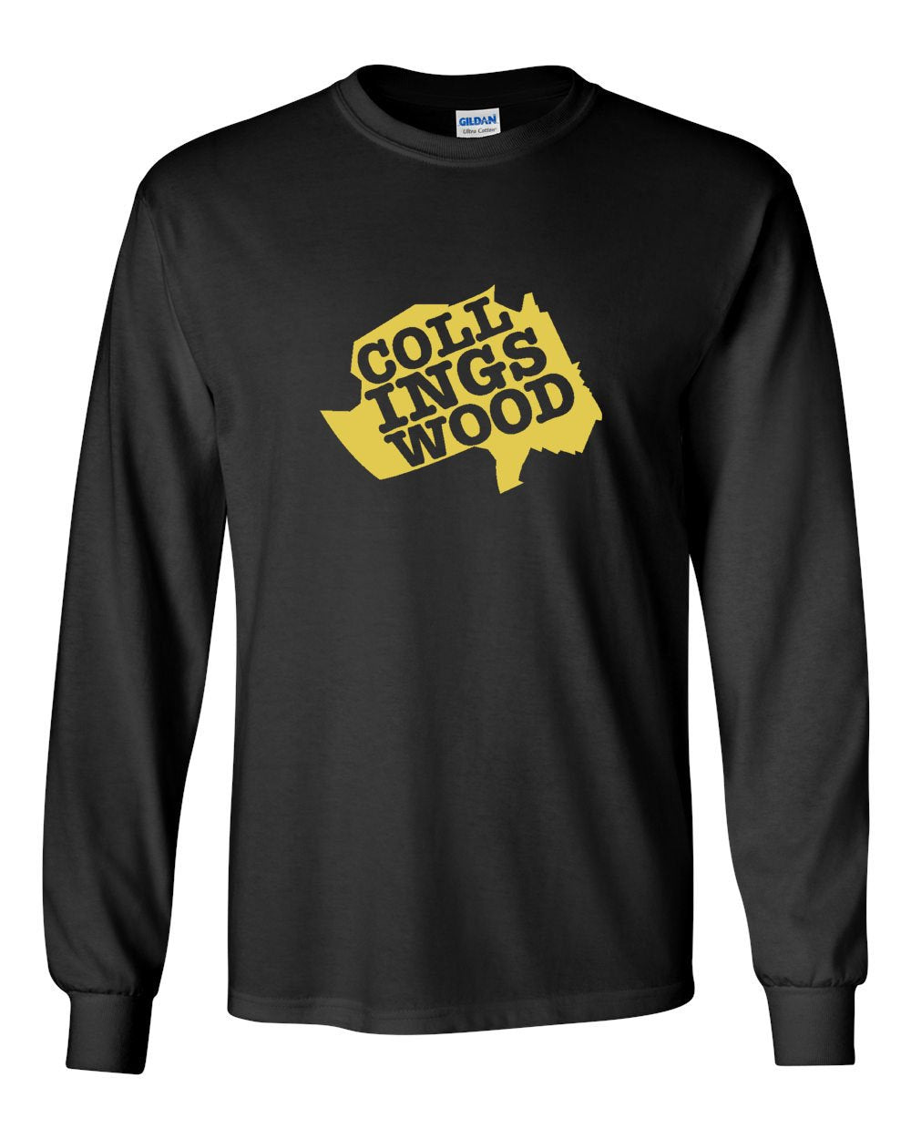 Collingswood Yellow Logo MENS Long Sleeve Heavy Cotton T-Shirt