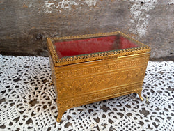 Antique Victorian Gold and Red Velvet Filigree Jewelry Casket, Jewelry Box