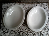 Antique Ironstone Shenango China Oval Shallow Bowls ~ White ~ Pair