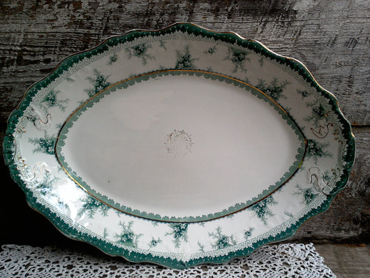 John Maddock & Sons, Royal Vitreous, England Green and White Platter