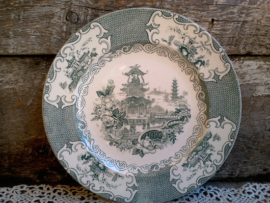 Antique English Dinner Plate, Allertons Chinese Pattern, England, C-1860-80