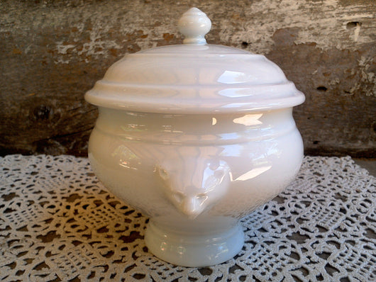 French White Ironstone Covered Sugar Pot/Bowl