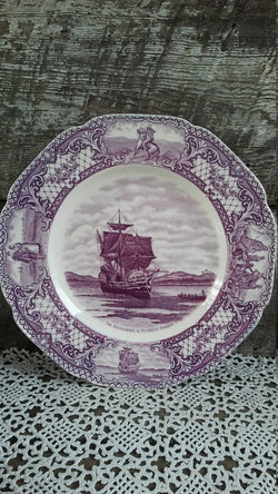 Purple Transferware Crown Ducal, Colonial Times, The Mayflower in Plymouth Harbor