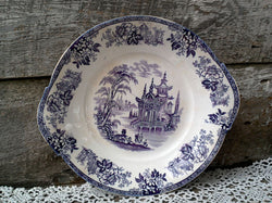 Antique Purple Transferware Handled Plate, Cake Plate, 10