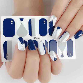 Candied Nails Blue Dots Gel Nail Wraps.