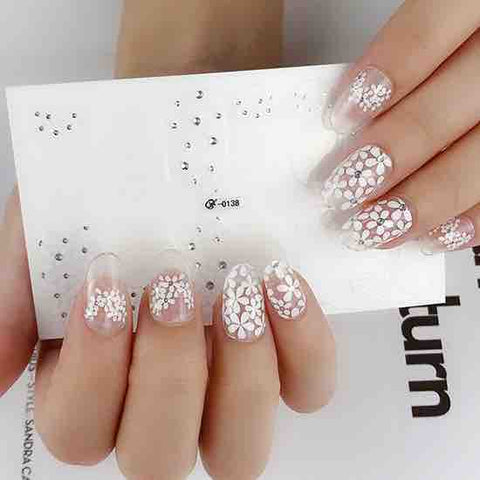 Candied Nails White Daisy Sparkle Gel Nail Wraps