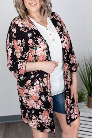Black and Blush Floral Kimono ONLINE EXCLUSIVE