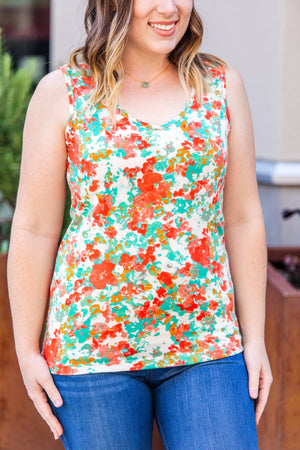 Callie Criss Cross Tank- Teal Mix Watercolor ONLINE EXCLUSIVE