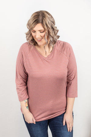 Kennedy Silver Stripe Top - Mauve ONLINE EXCLUSIVE