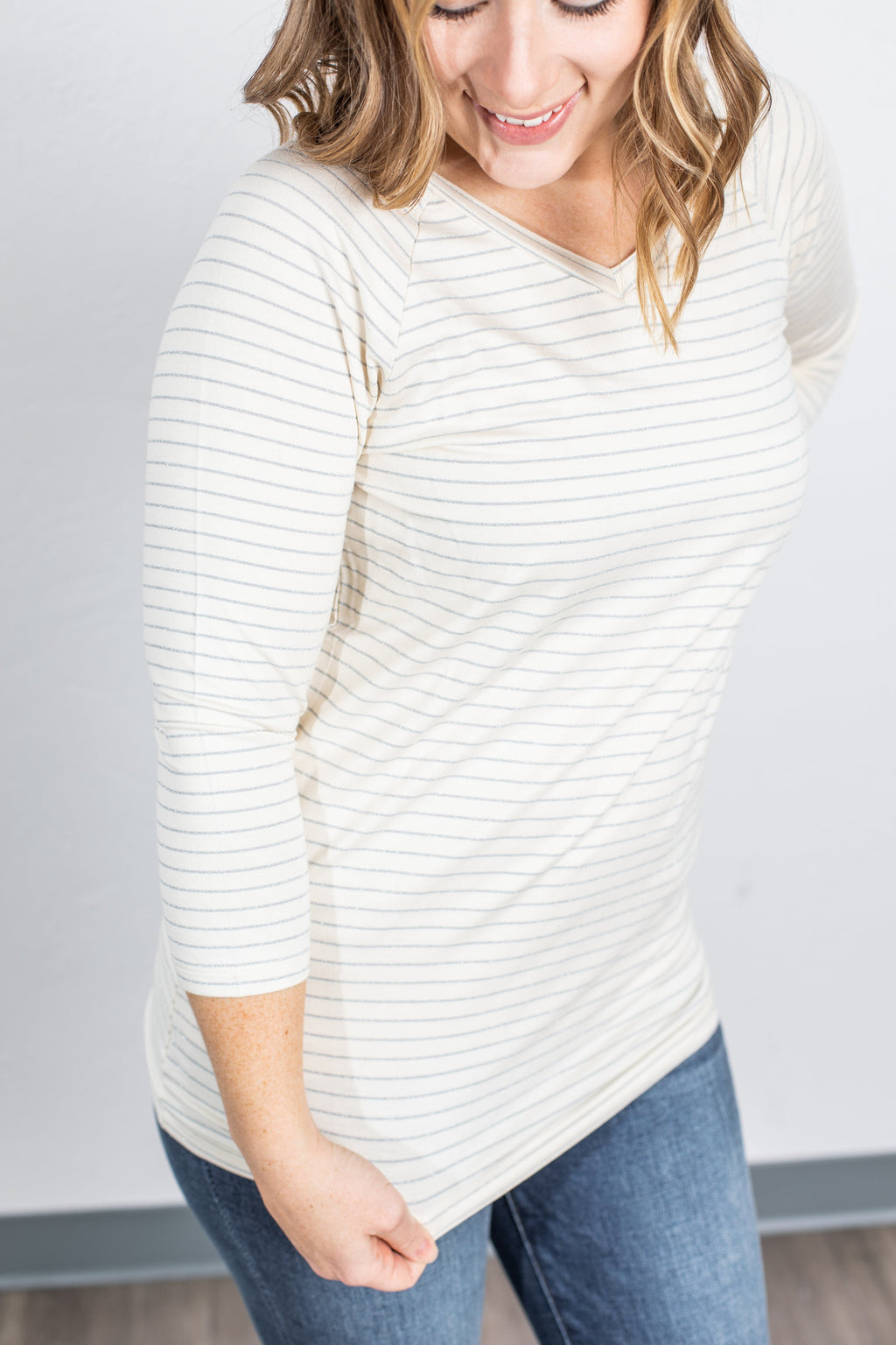 Kennedy Silver Stripe Top - Ivory ONLINE EXCLUSIVE
