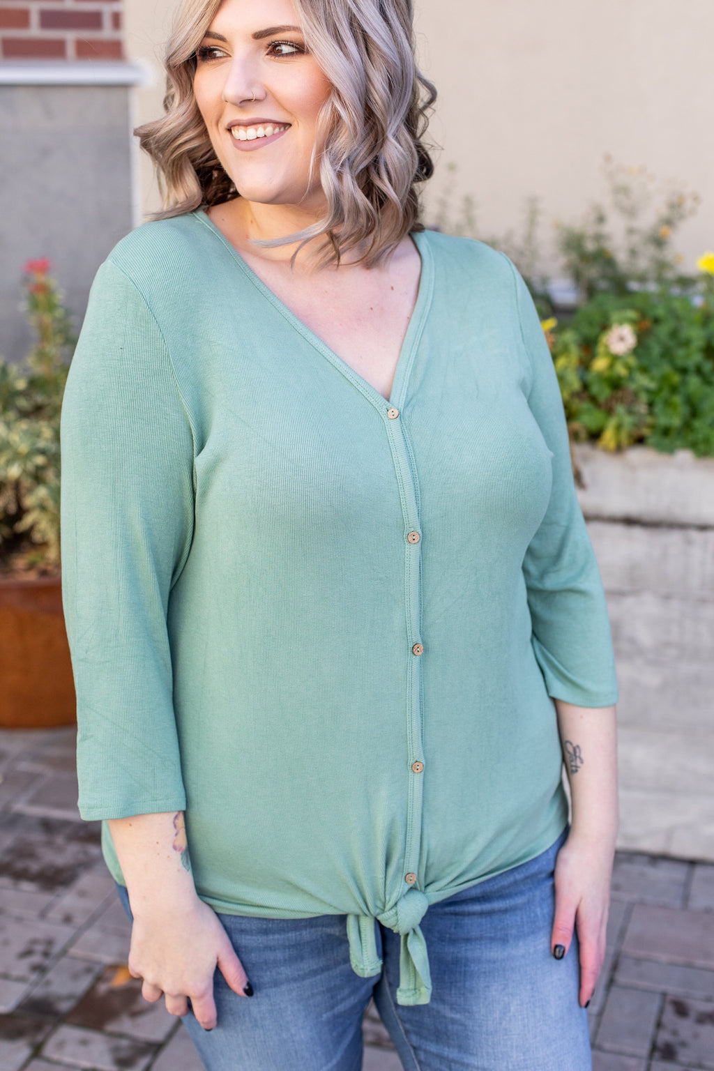 Riley Button Top - Sage ONLINE EXCLUSIVE
