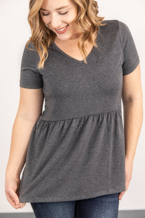 Sarah Ruffle Top - Grey ONLINE EXCLUSIVE
