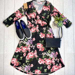 Taylor Dress - Black and Blush Floral ONLINE EXCLUSIVE