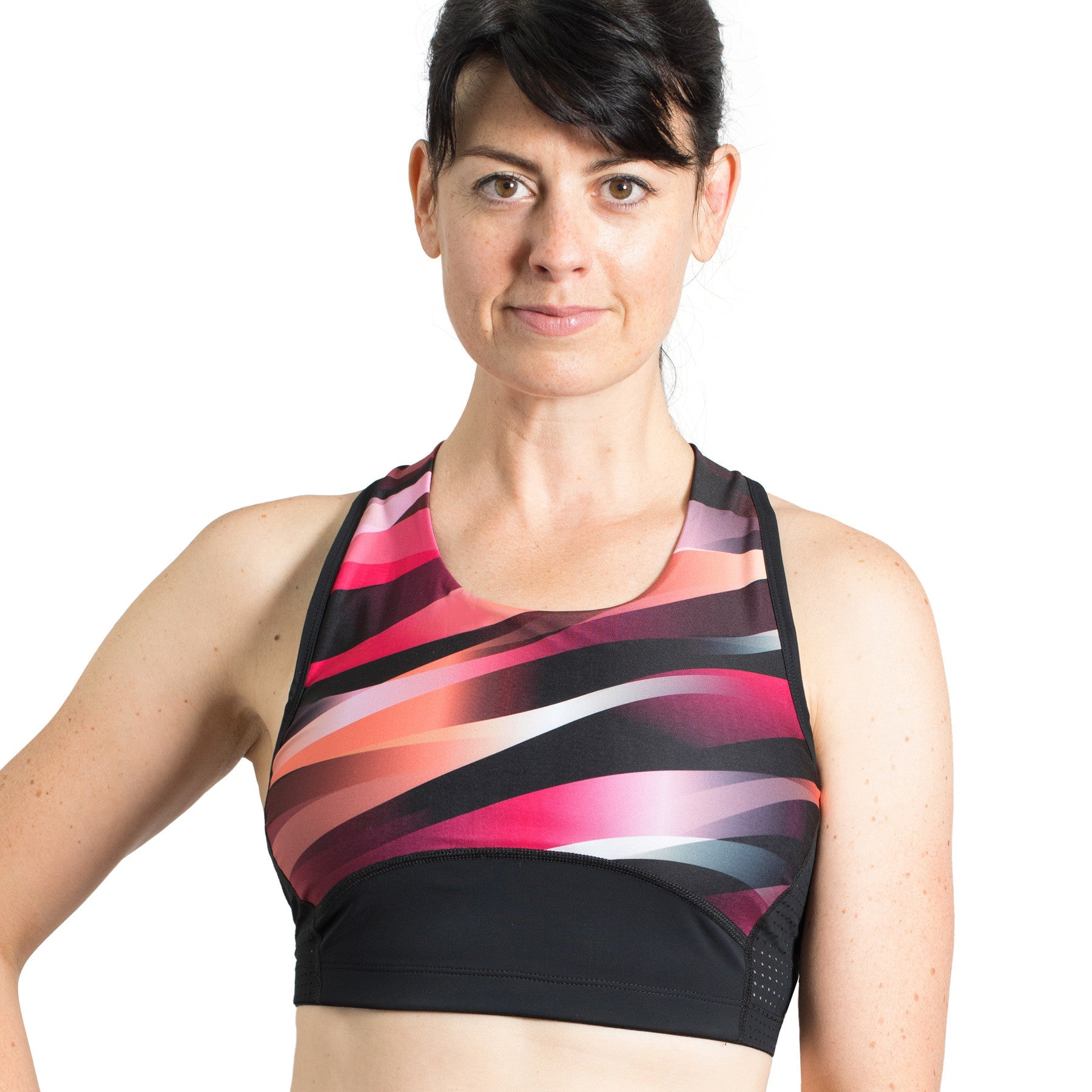 Beat Tri Crop Top with Support Lining, Print Red