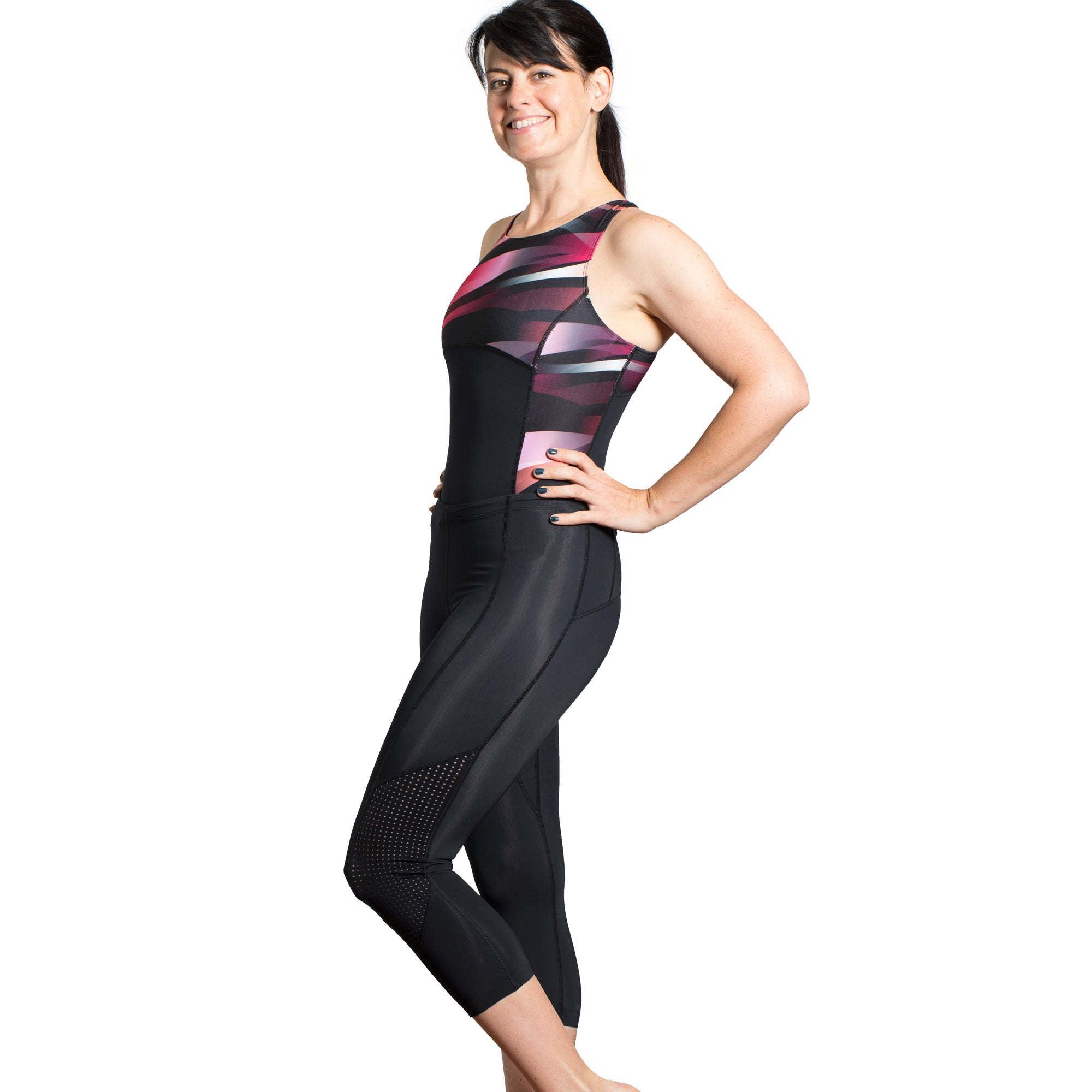 This trisuit double up as an over the knee swimsuit