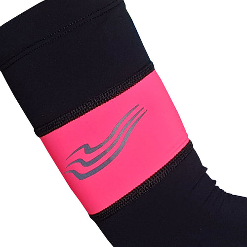 Cosy Cycling Arm Warmers in Black/ Hi-Viz Pink