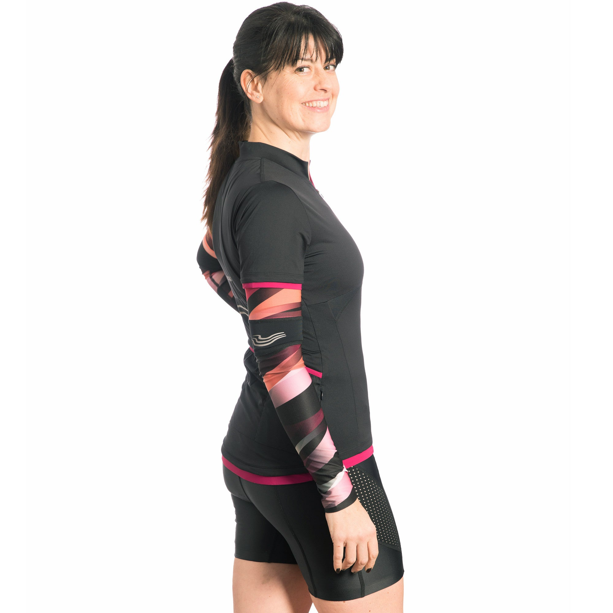 Cosy Ladies Cycling Arm Warmers in Print Red/ Pink