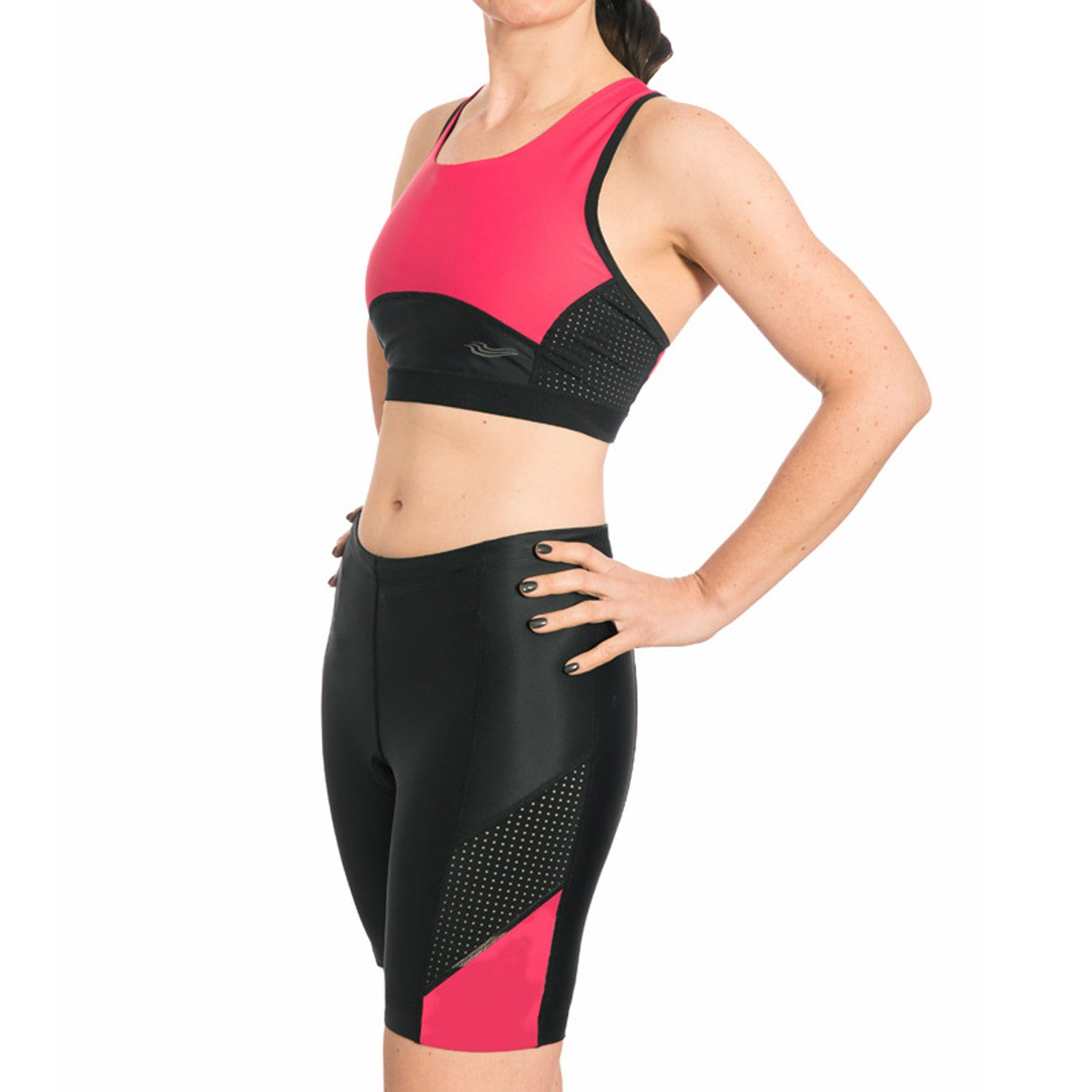 Pink triathlon suit - two piece set with a crop top and matching shorts, 15% discount