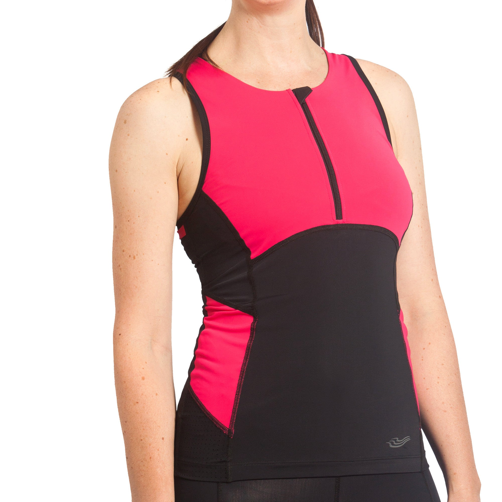 Trigirl Brave technical triathlon top with supportive quick-drying bra in bright pink.