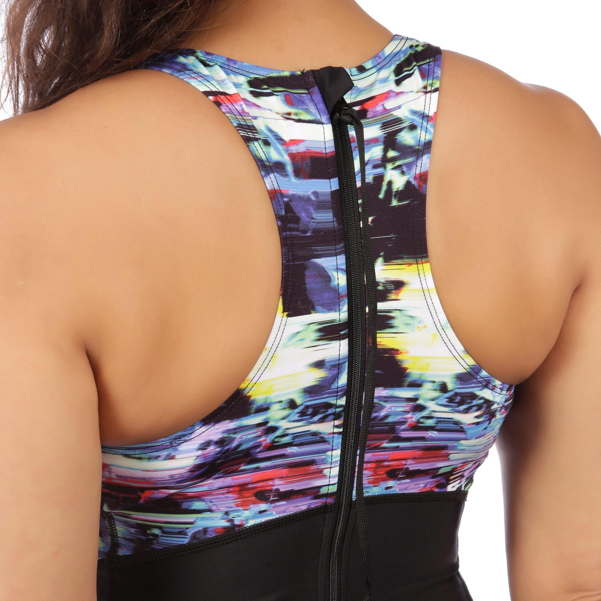 Flow Swimsuit with Support Bra in Glitched Floral