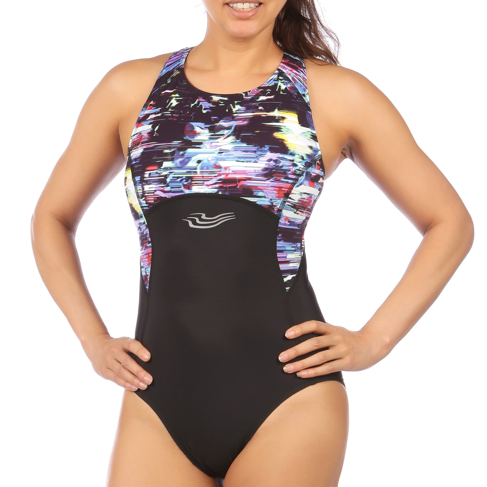 Flow & Gait Swimsuit and Capri Tri Set in Glitched Floral