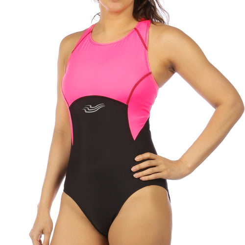 Flow Swimsuit with Support Bra in High Octane Pink