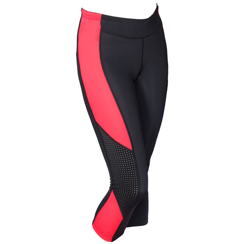 Triathlon capri pants with fluorescent red side panel.