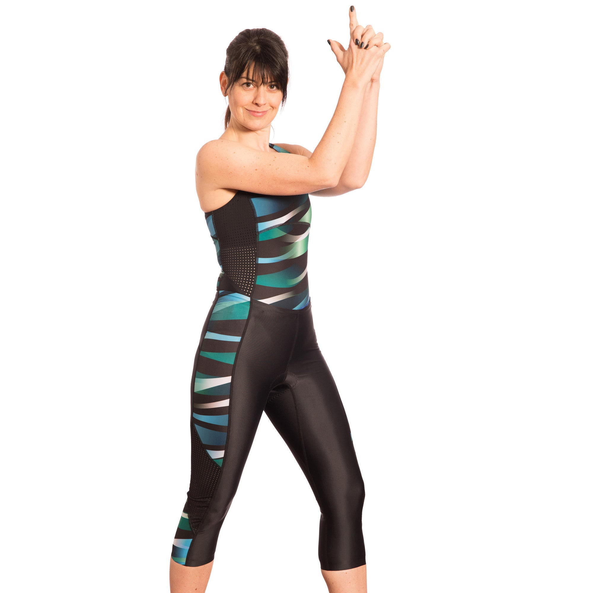 Pace Triathlon Capri, Print Wave Green - S