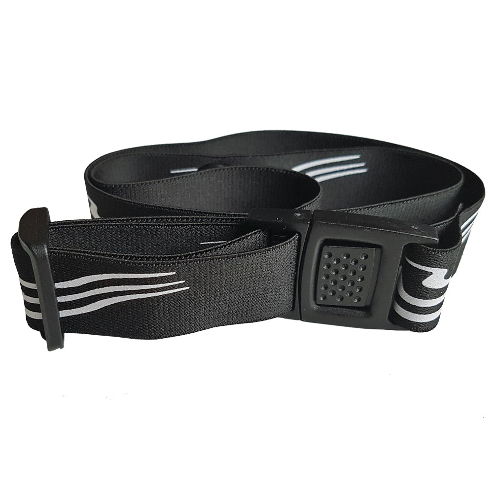 Soft Elastic Triathlon Number Belt in Black/ White with Thin Buckle