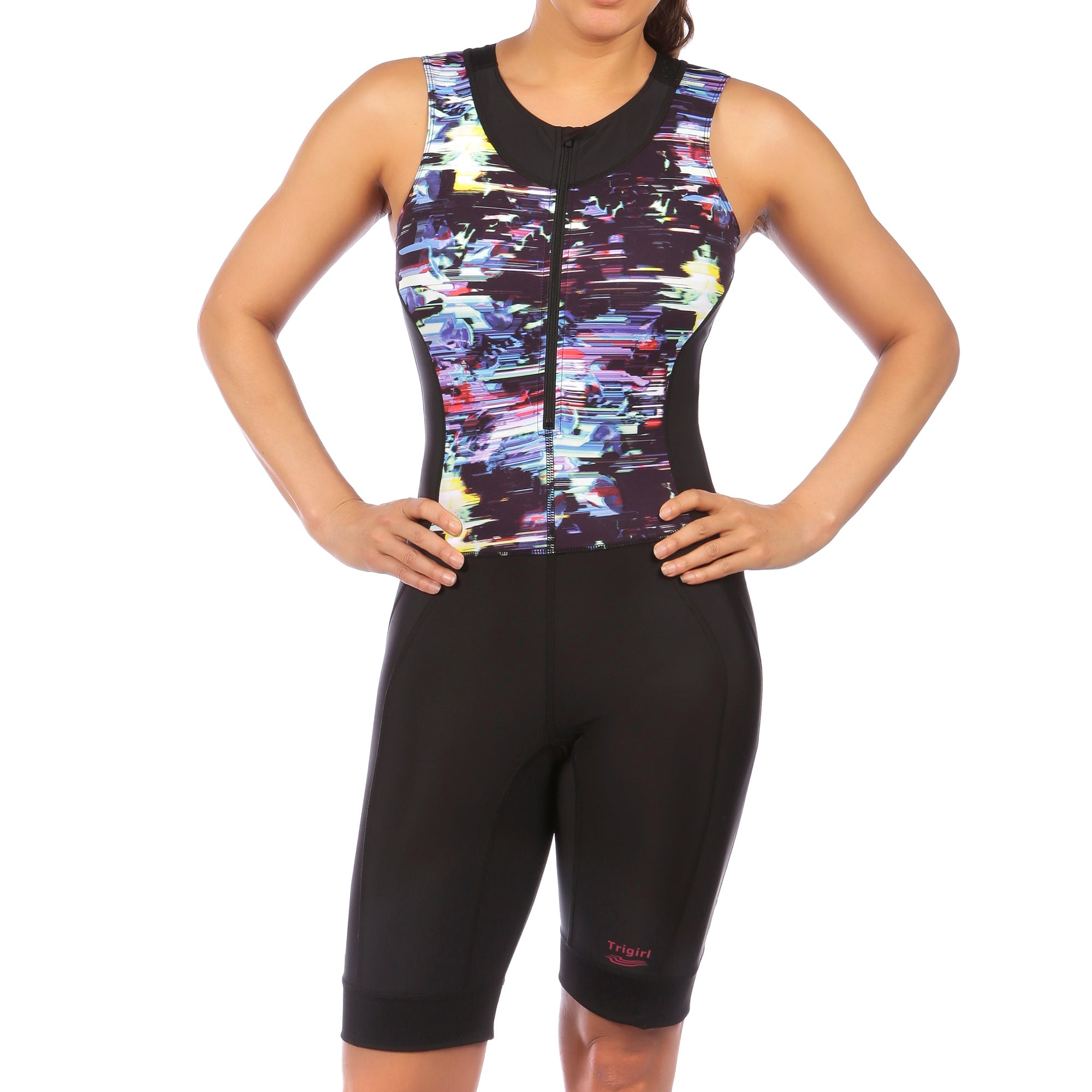 Ritzy Trisuit with Support Bra in Glitched Floral