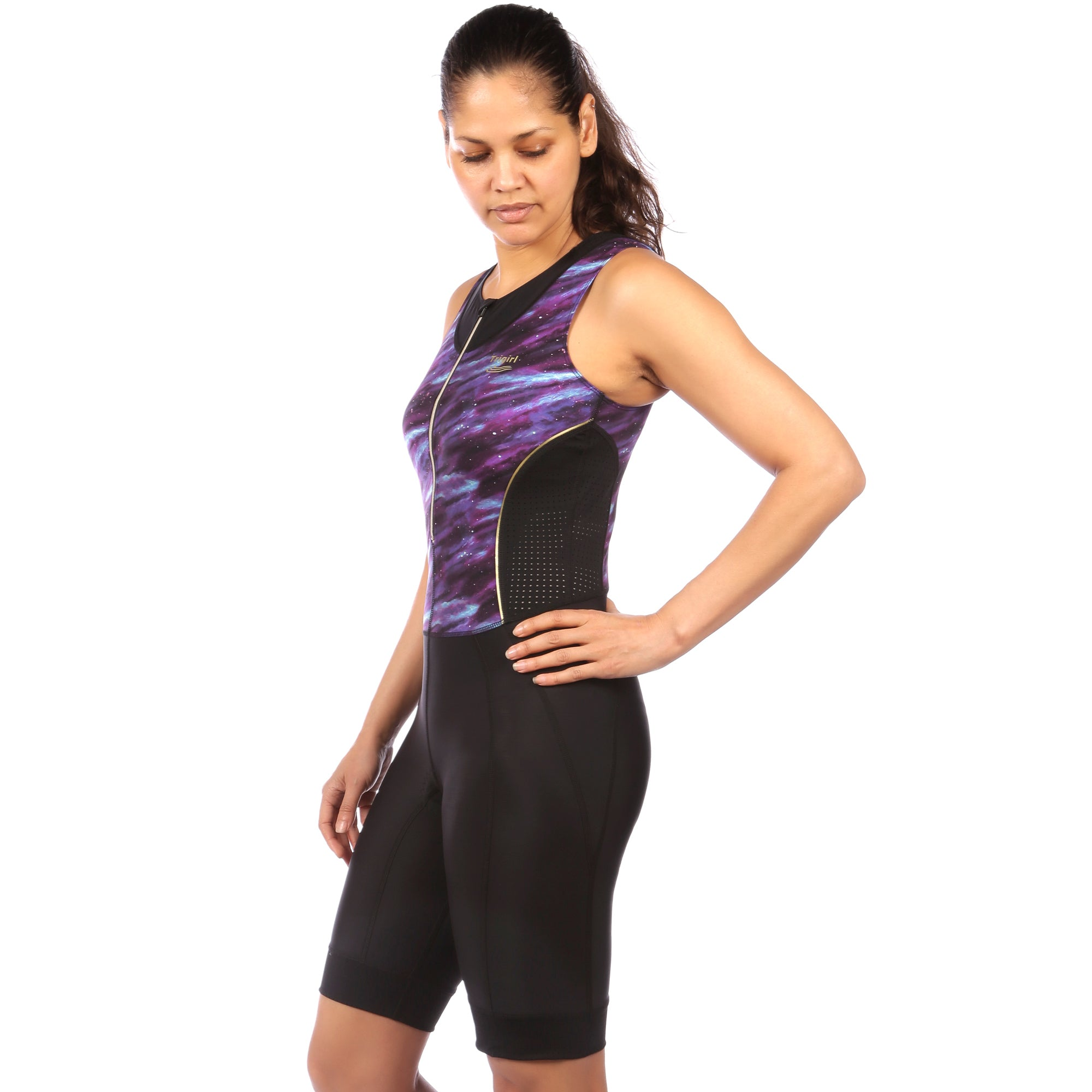Tri Suit with Bra Support - side view of Trigirl Galaxy