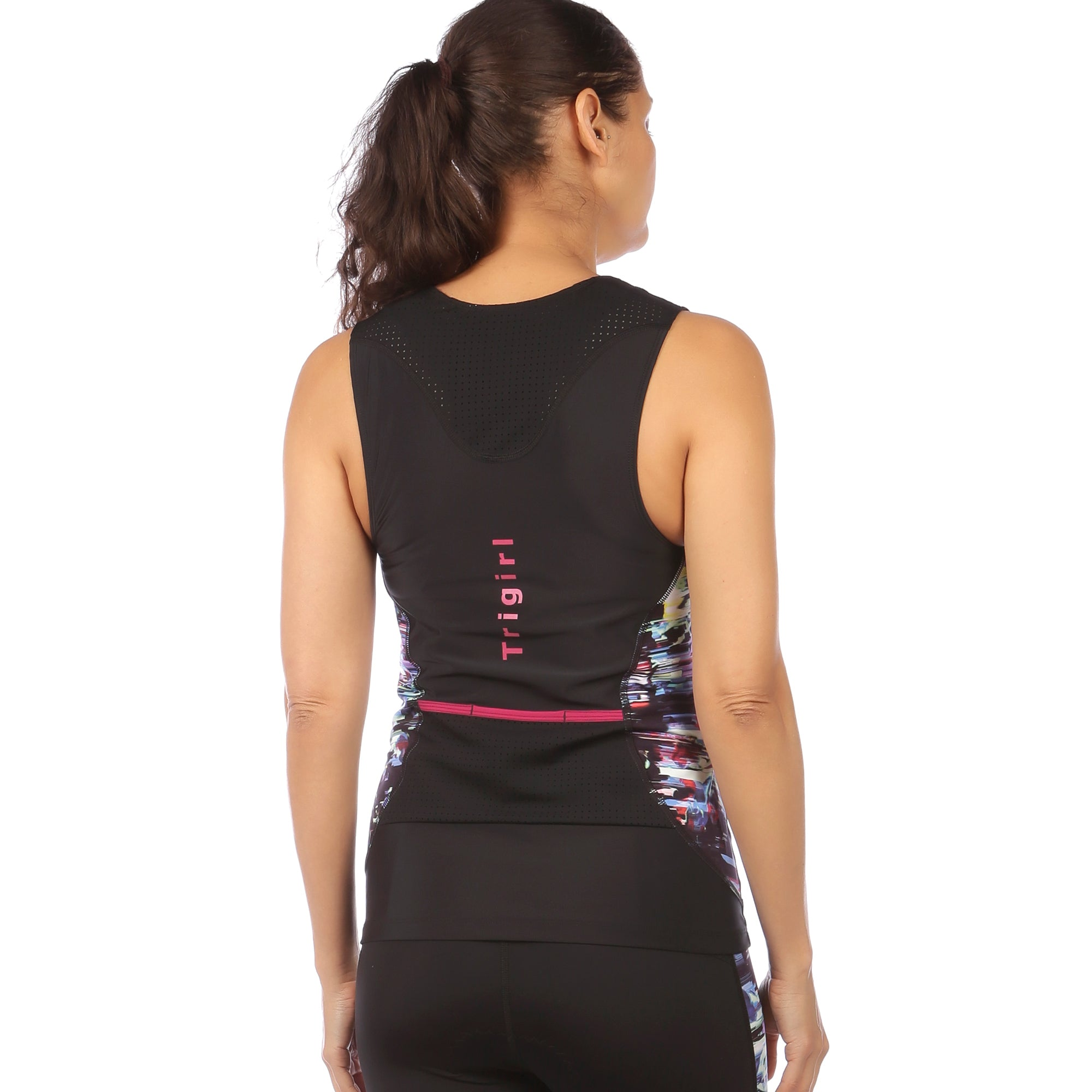 Sassy C/D Triathlon Top with Support Bra, Glitched Floral