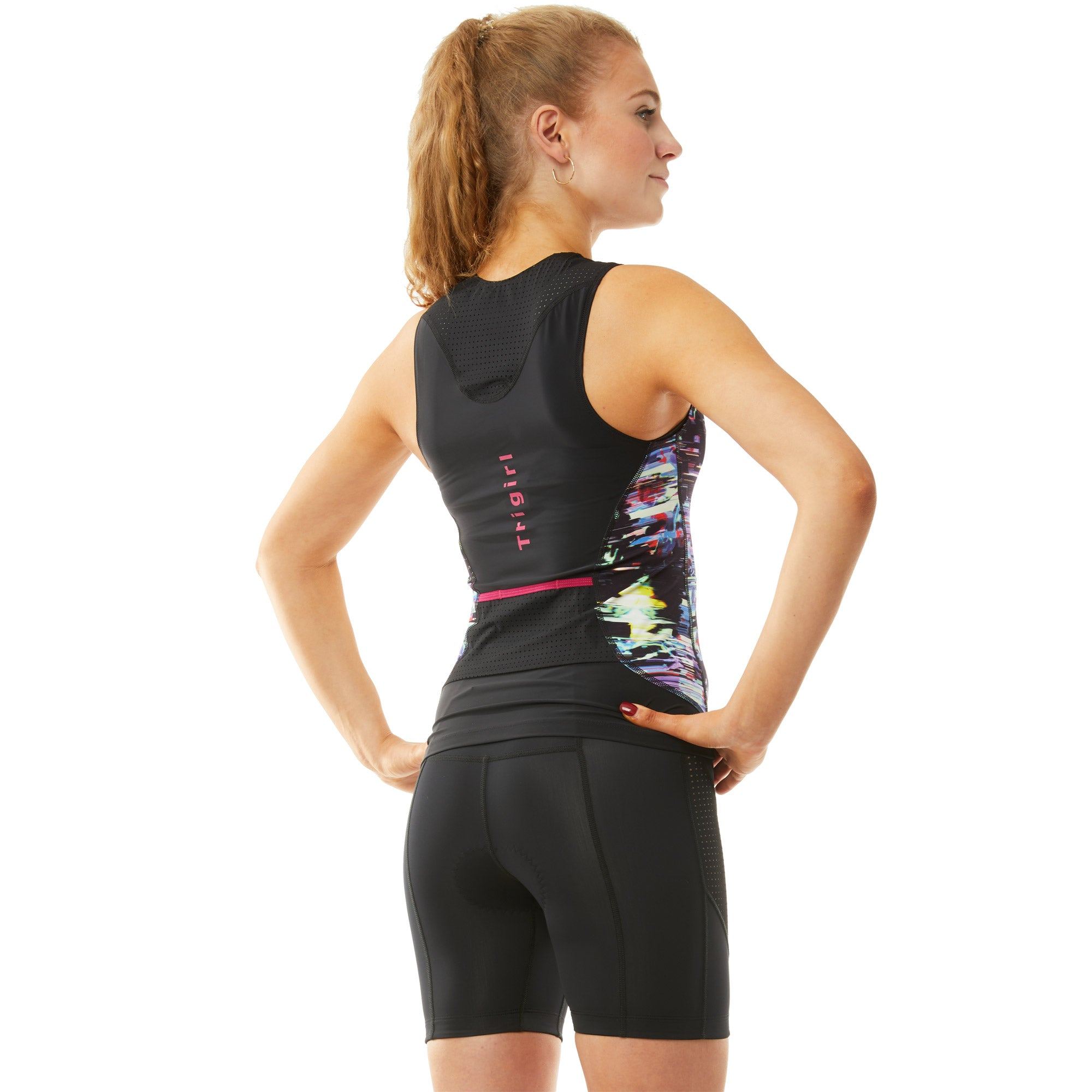 Sassy & Champion Triathlon Top and Shorts Set in Glitched Floral - M