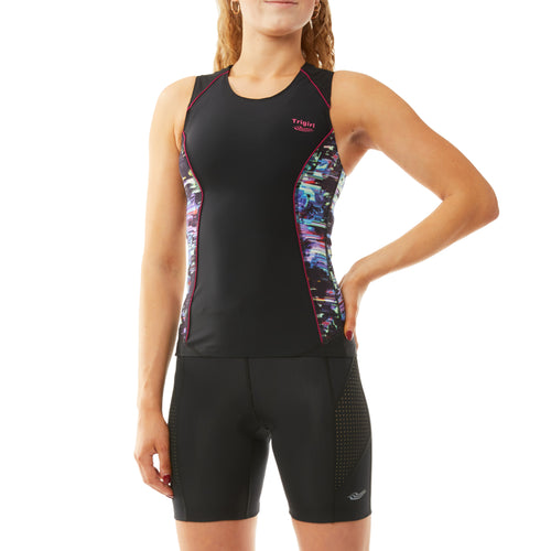 Sassy & Champion Triathlon Top and Shorts Set in Glitched Floral - S